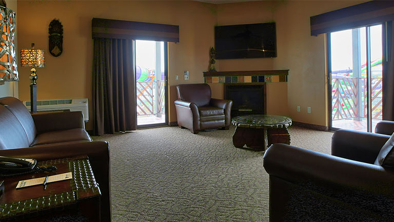 The living room space inside a Two Bedroom suite at Kalahari