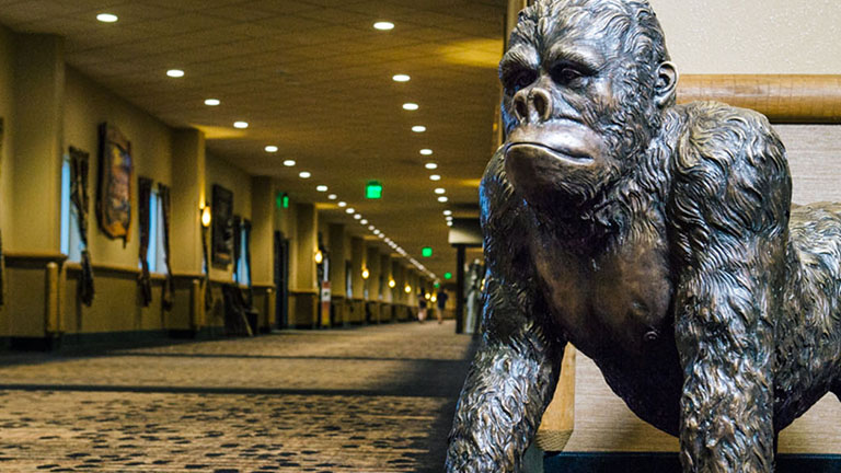 Giant gorilla sculpture in the hallway at Wisconsin Dells Kalahari Resort
