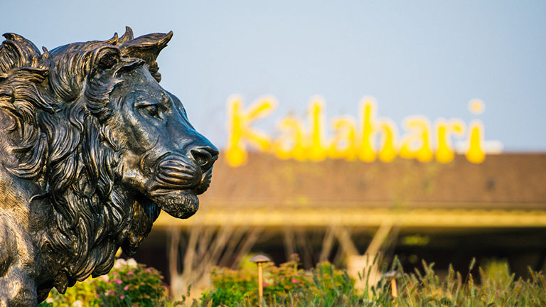 A lion sculpture in front of Kalahari Resorts & Conventions in Pocono Mountains, Pennsylvania