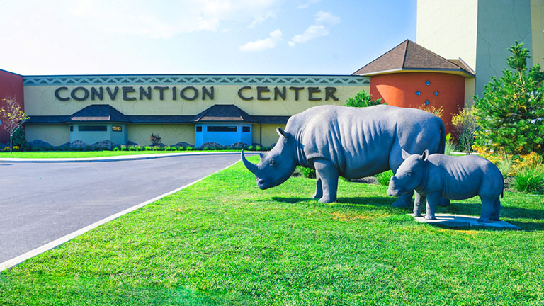 A mother and baby rhino sculpture in front of Kalahari Resorts & Conventions in Pocono Mountains, Pennsylvania