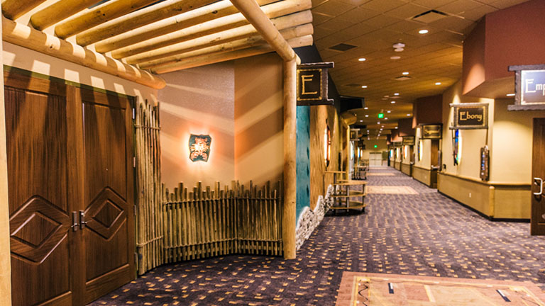 The hallway in front of the Ebony Suite at Kalahari Resorts & Conventions in Pocono Mountains, Pennsylvania
