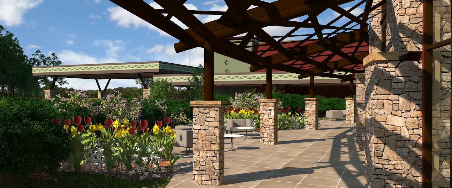 An artist rendering of the expanded outdoor patio space with seating areas and landscape at Kalahari Resorts & Conventions in Pocono Mountains, Pennsylvania