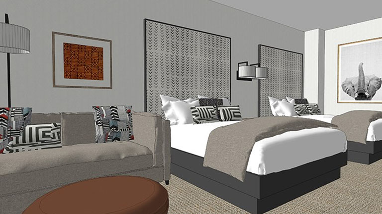 Rendering of a guest room with two beds and a sofa in Kalahari Resorts and Conventions in Round Rock, Texas
