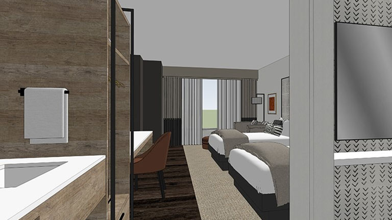 Rendering of view when walking in the door of guest room, sink with towel, office space, two beds and patio doors inside Kalahari Resorts and Conventions in Round Rock, Texas