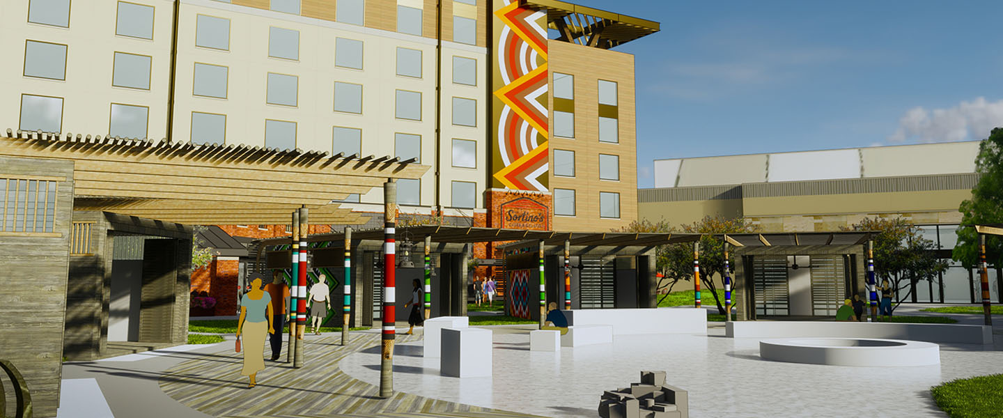Rendering of an exterior space with circular walkway at Kalahari Resorts & Conventions in Round Rock, Texas