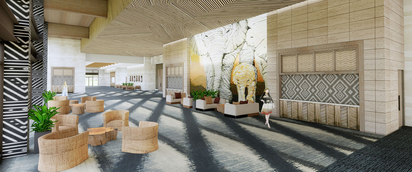 Rendering of the convention center lobby with seating areas, reception desk and large elephant artwork in Kalahari Resorts & Conventions in Round Rock, Texas